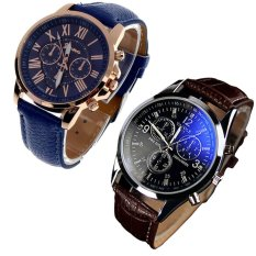 Luxury Fashion Faux Leather Mens Blue Ray Glass Quartz Analog Watches Brown And Women's Geneva Roman Numerals Faux Leather Analog Quartz Watch Dark Blue Free Shipping- Intl