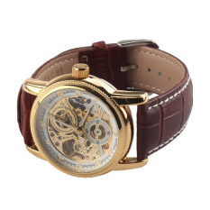 Luxury Gold Watches Men Fashion New Leather Strap Automatic Self-Wind Watches For Men Gold + Brown Brand Watch-ORKINA 003 (Intl)