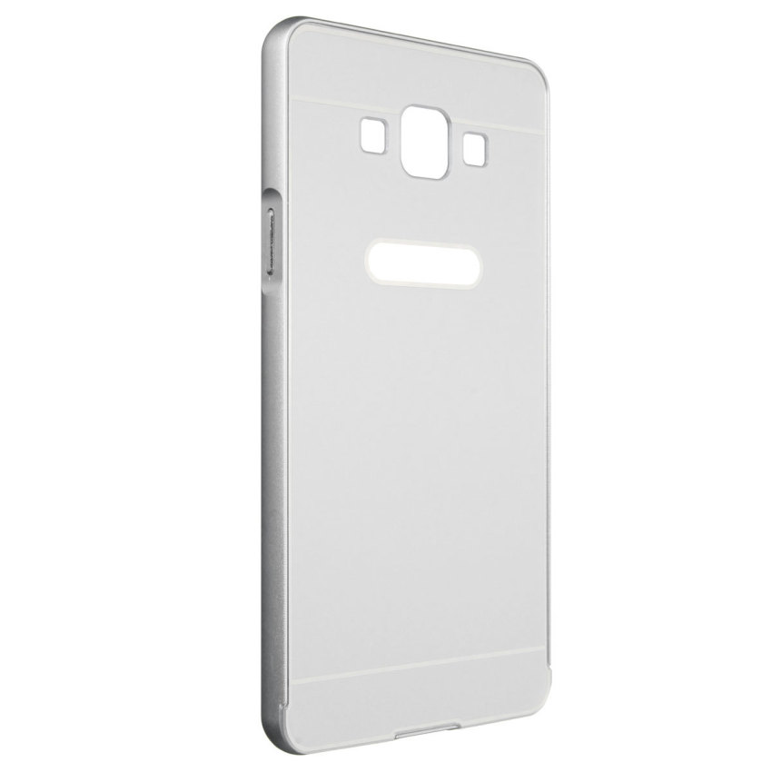 Luxury Hybrid Metal Aluminum Bumper + PC Hard Case for Samsung Galaxy A7 (Silver) (Intl)