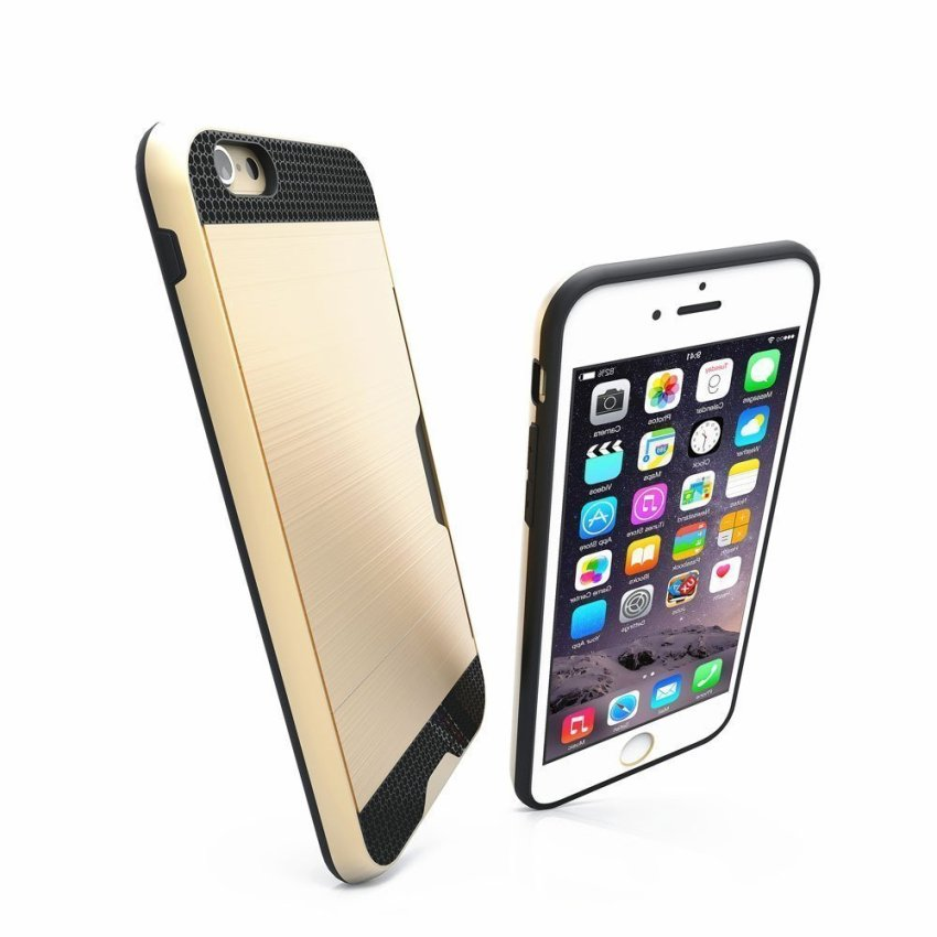 Luxury Hybrid Shockproof Armor Rubber Hard Card Case for iPhone 6 Plus Gold/Black (Intl)