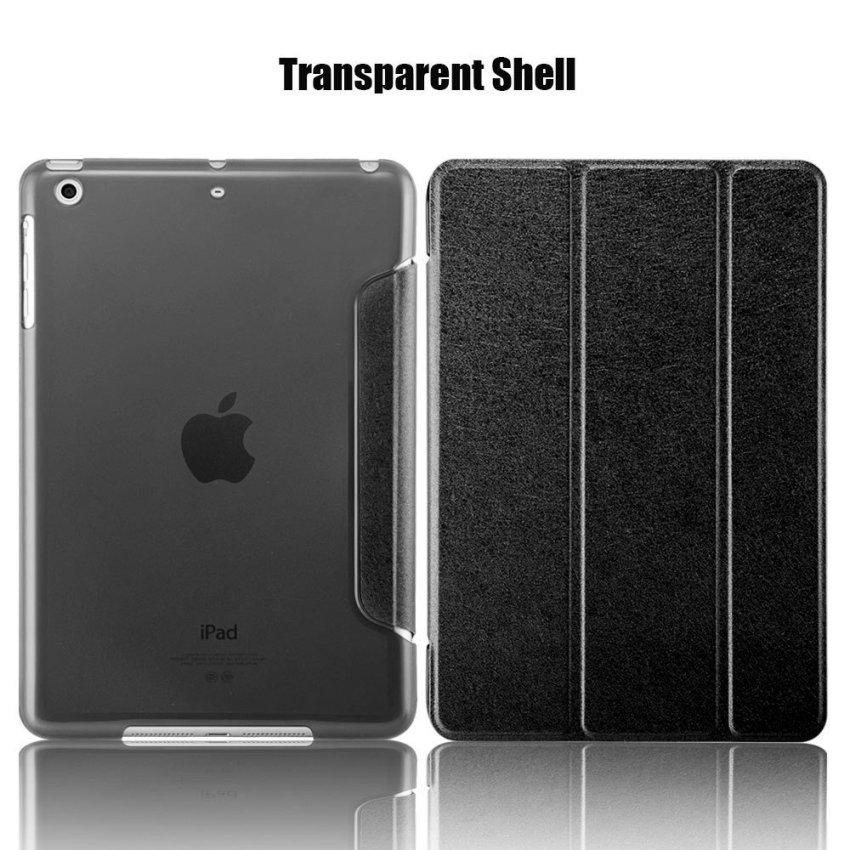 Luxury Magnetic Slim Smart Wake Leather Transparent Back Case Cover for Apple iPad mini 4 Black(INTL)