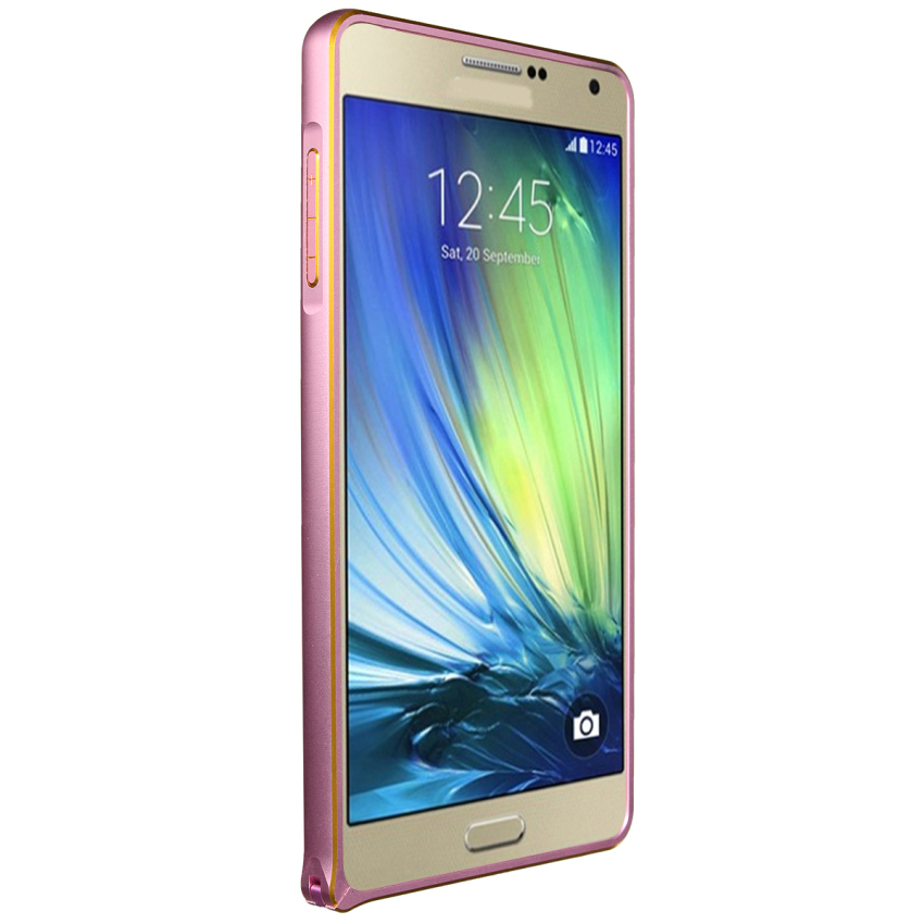 Luxury Metal Alu Frame PU Leather Durable Back Case for Samsung Galaxy A3/A5/A7 (Pink) (Intl)