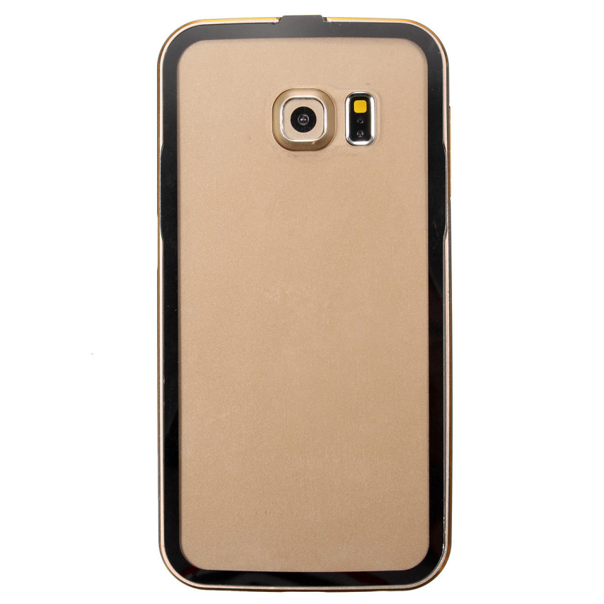 Luxury Metal Frame Clear PC Hard Back Case for Samsung Galaxy S6/S6 Edge (Golden) (Intl)