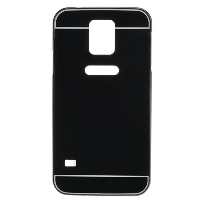Luxury Metal Frame Mirror Hard Back Cover Case for Samsung Galaxy S5 i9600 (Black) (Intl)