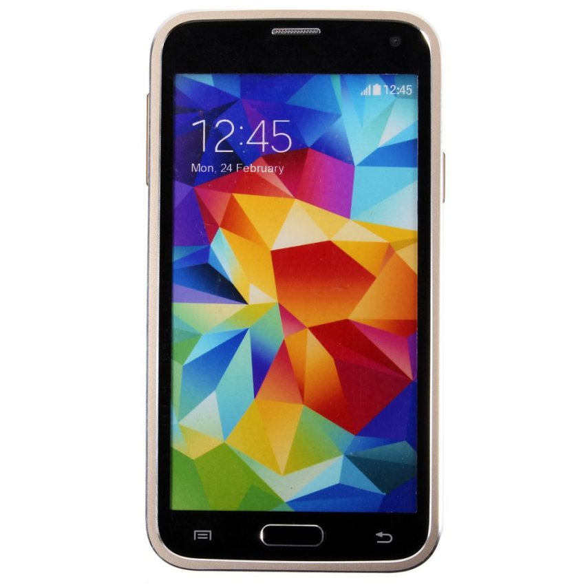 Luxury Metal Frame Mirror Hard Back Cover Case for Samsung Galaxy S5 i9600 (Gold) (Intl)