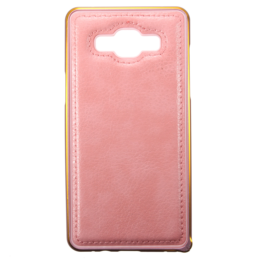 Luxury Metal Frame + PU Leather Case for Samsung Galaxy A5/A5000 (Pink) (Intl)