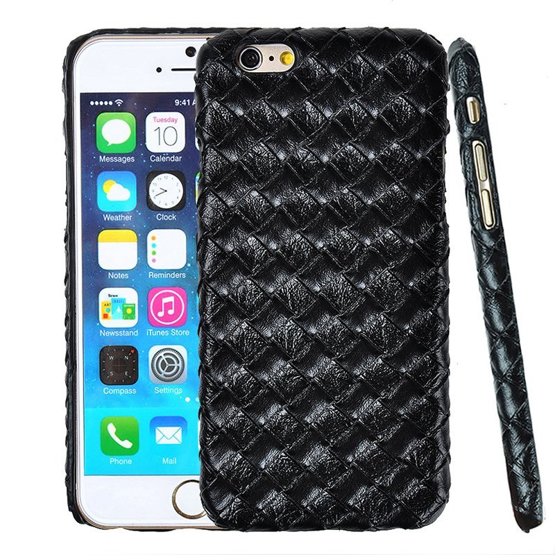 Luxury PU Leather Retro Elegant Woven Pattern Skin Case Phone Bag Pouch for iPhone 5 Black (Intl)