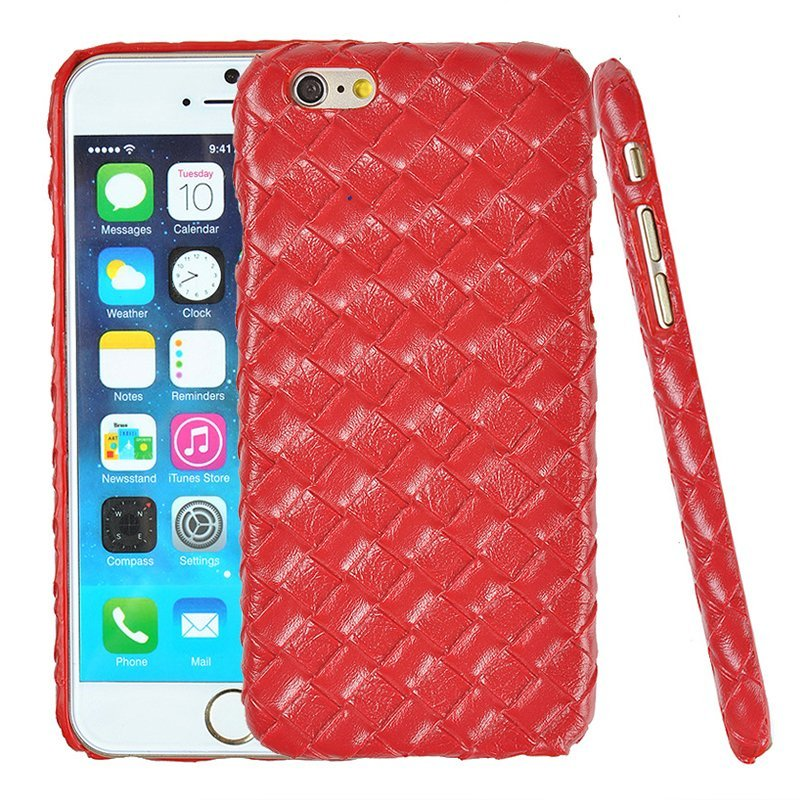 Luxury PU Leather Retro Elegant Woven Pattern Skin Case Phone Bag Pouch for iPhone 5 red (Intl)