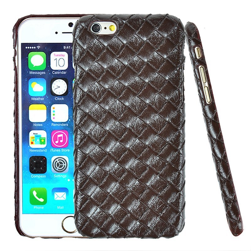 Luxury PU Leather Retro Elegant Woven Pattern Skin Case Phone Bag Pouch for iPhone 6/6s Brown (Intl)