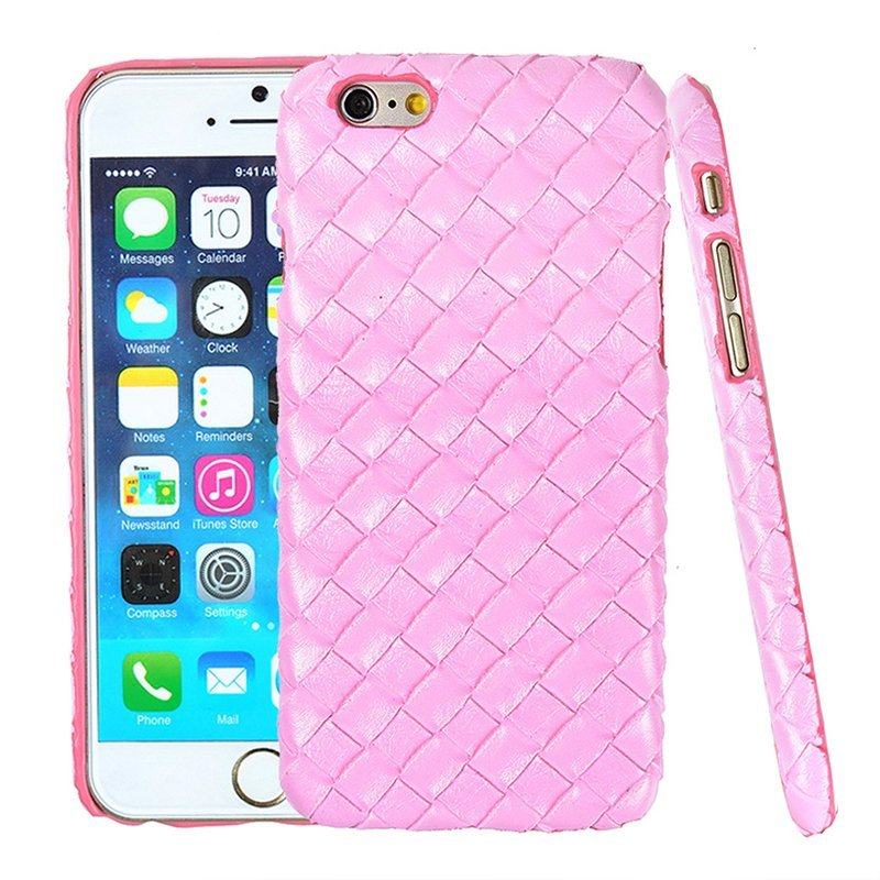 Luxury PU Leather Retro Elegant Woven Pattern Skin Case Phone Bag Pouch for iPhone 6 plus/6s plus pink (Intl)