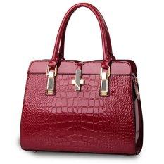 Luxury Women Crocodile PU Leather Shoulder Bag Alligator Pattern Tote Handbag Dark Red - Intl