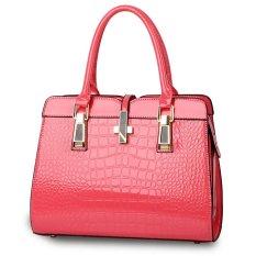 Luxury Women Crocodile PU Leather Shoulder Bag Alligator Pattern Tote Handbag Pink - Intl