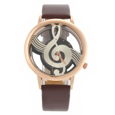 M388 Fashion Women's Ladies Hollow Musical Note Style Dial PU Band Quartz Wrist Watch (Brown) (Intl)