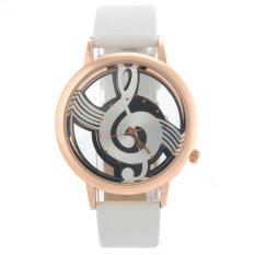 M388 Fashion Women's Ladies Hollow Musical Note Style Dial PU Band Quartz Wrist Watch (White) (Intl)