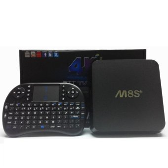 M8S + Plus Android 5.1 TV Box Amlogic S812 Quad Core 2G / 8G Kodi Pre-install 4K H.26.2.4G&5G WiFi Air Mouse Keyboard (BLACK)