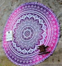 Marry Christmas Round Roundie Yoga Mat Indian Mandala Round Roundie Beach Throw Tapestry Hippy Boho Gypsy Cotton Table Cover Beach Towel, Beach Towel Throw, Round Yoga Mat (Intl)