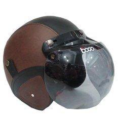 Matrix Helm - Helm Bogo Retro Coklat Hitam