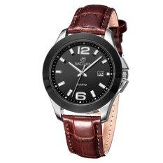 MEGIR Brand Watch with Timing Calendar Multi-functional High-end Men's Business Watch-Leather Silver Black (Intl)