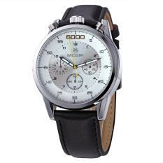 MEGIR Genuine Six Eye Three Pin Three Genuine Leather Men's Casual Watch-Black Silver White (Intl)