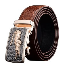 Men Luxury Crocodile Genuine Leather Automatic Belt MBT08912-3 Brown - Intl
