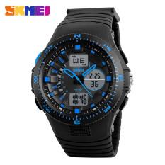 Men Sports Watches Dual Display Watches Analog Digital LED SKMEI Brand Quartz Casual Waterproof Wristwatches (Blue)