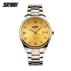 Men Watches Top Brand Luxury Men Military Wrist Watches SKMEI Full Steel Men Sports Waterproof Watch (Gold)
