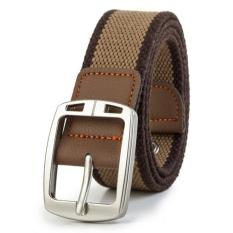Men's Casual Belt Braided Canvas Waist Belt (Brown1)