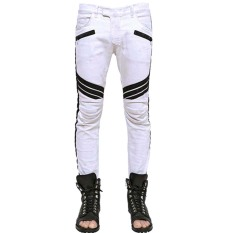 Mens Creased Panel Washed White Jeans (Intl)