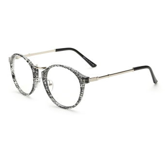 Men's Eyewear Fashion Vintage Retro Round Glasses BlackWhite Frame Glasses Plain for Myopia Men Eyeg.