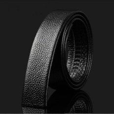 Men's Genuine Leather Automatic Buckle Belt [Not Including Belt Buckle] (Black) (Intl)