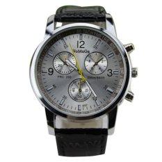 Men's Round Dial Faux Leather Strap Quartz Wrist Watch Black