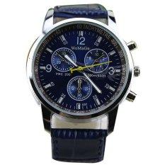 Men's Round Dial Faux Leather Strap Quartz Wrist Watch DarkBlue