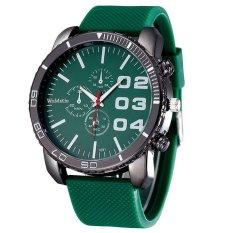 Mens Stylish Luxury Huge Big Dial Silicone Band Quartz Wrist Watch Sports Watch Green