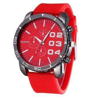 Mens Stylish Luxury Huge Big Dial Silicone Band Quartz Wrist Watch Sports Watch Red