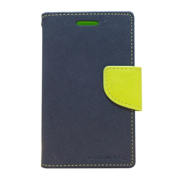 Mercury Fancy Diary Case - LG Optimus L5 - Navy/Lime