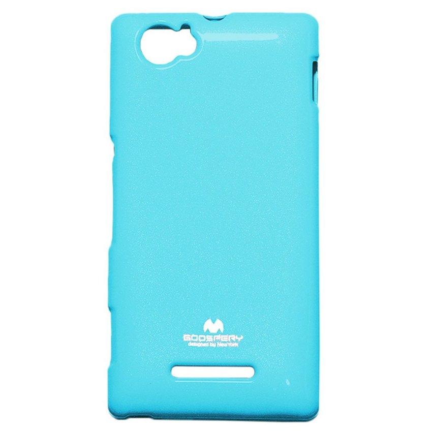 Mercury Goospery Jelly Glittercase Untuk Sony Xperia M Case - Sky Blue