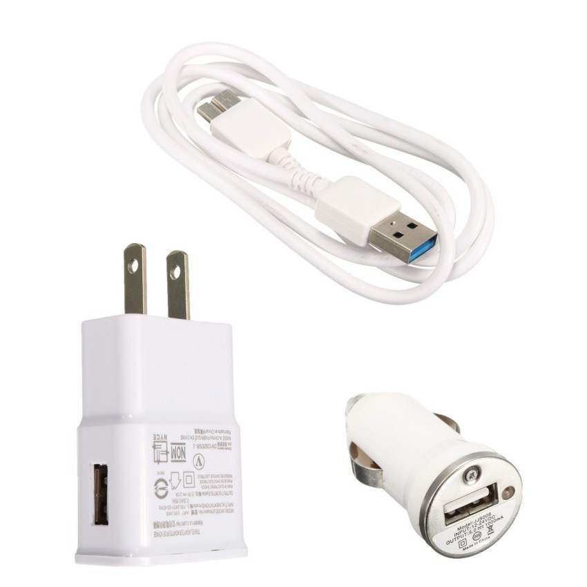 Micro USB3.0 Cable with Car Charger and Wall Home Charger for Samsung Galaxy Note 3/S5 (White) (Intl)