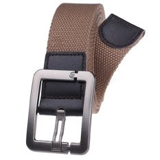 Military Style Unisex Single Grommet Adjustable Canvas Belt Web Belt Woven Belt Dark Khaki 125cm (Export) - Intl