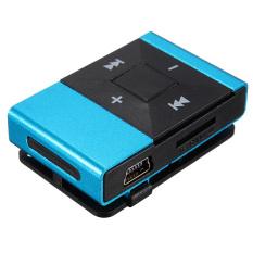 Mini Clip Metal USB MP3 Music Media Player Support 2-16GB Micro SD TF + Headphone Blue (Intl)