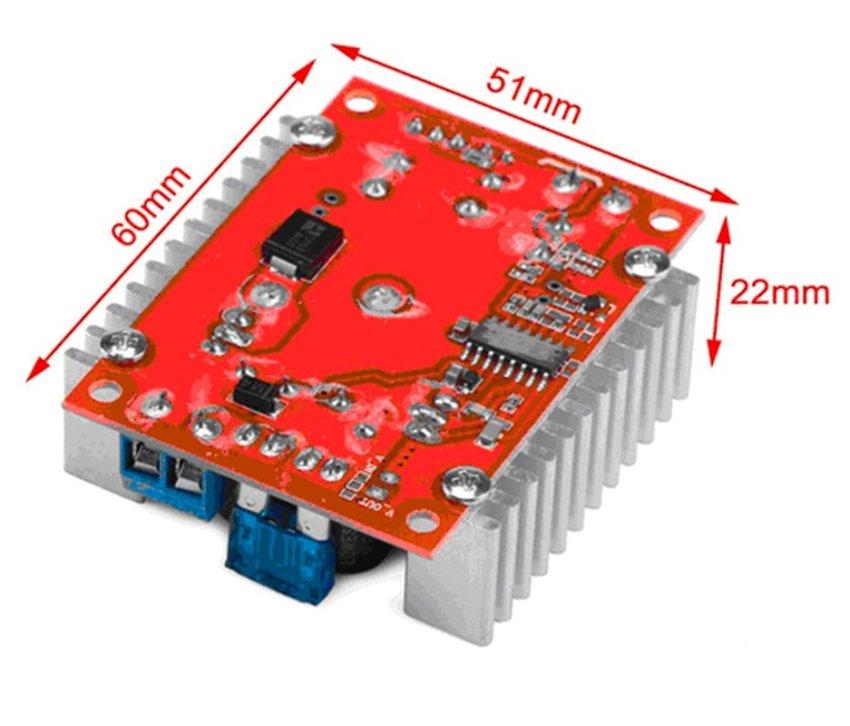 Mini Electric Buck Voltage Converter DC to DC Step-down Transformer High Power 15A Volt Regulator Board Synchronous Inverter Module 4-32V to 1.2V-32V for 12V 24V Adjustable LED Driver Car Laptop Power Supply (Black) (Intl)