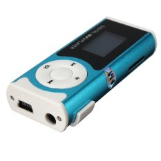 Mini USB Clip MP3 Player LCD Screen Support 16GB Micro SD TF Card With LED Light Blue (Intl)