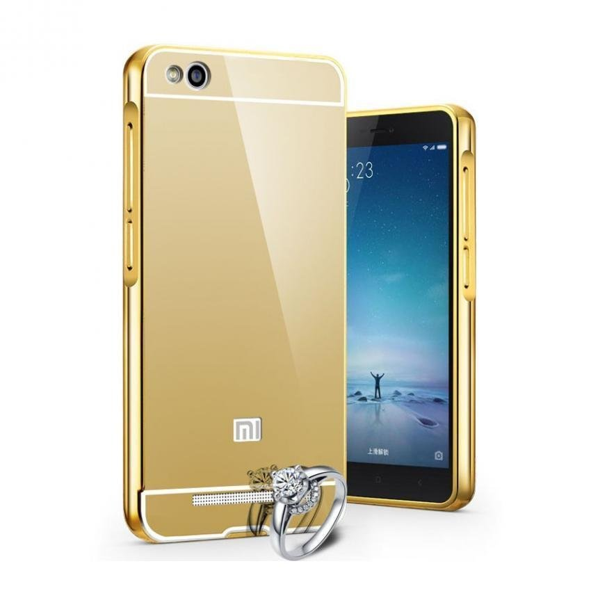 Mirror Aluminium Bumper with Mirror Back Cover for Xiaomi Mi 4i/4c - Golden