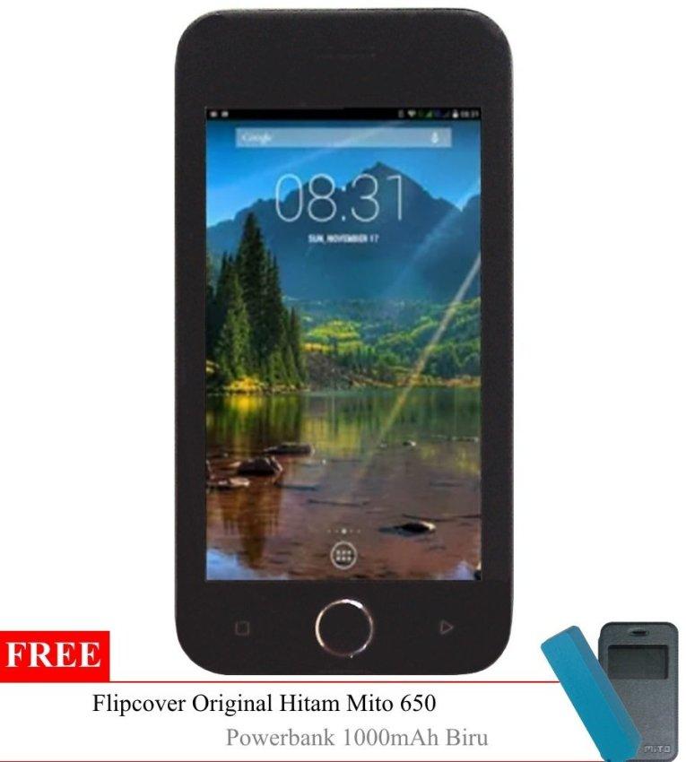 Mito 650 Dual SIM - Hitam + Gratis Flipcover Original & Powerbank
