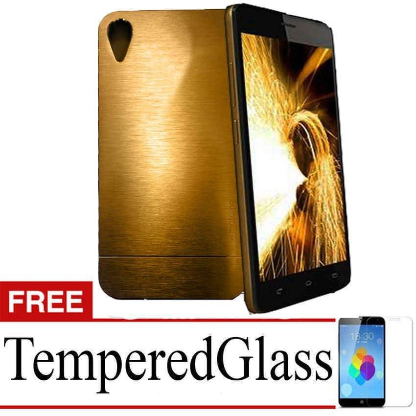 Motomo Metal Backcase for Infinix Hot Not X551 - Emas + Gratis Tempered Glass
