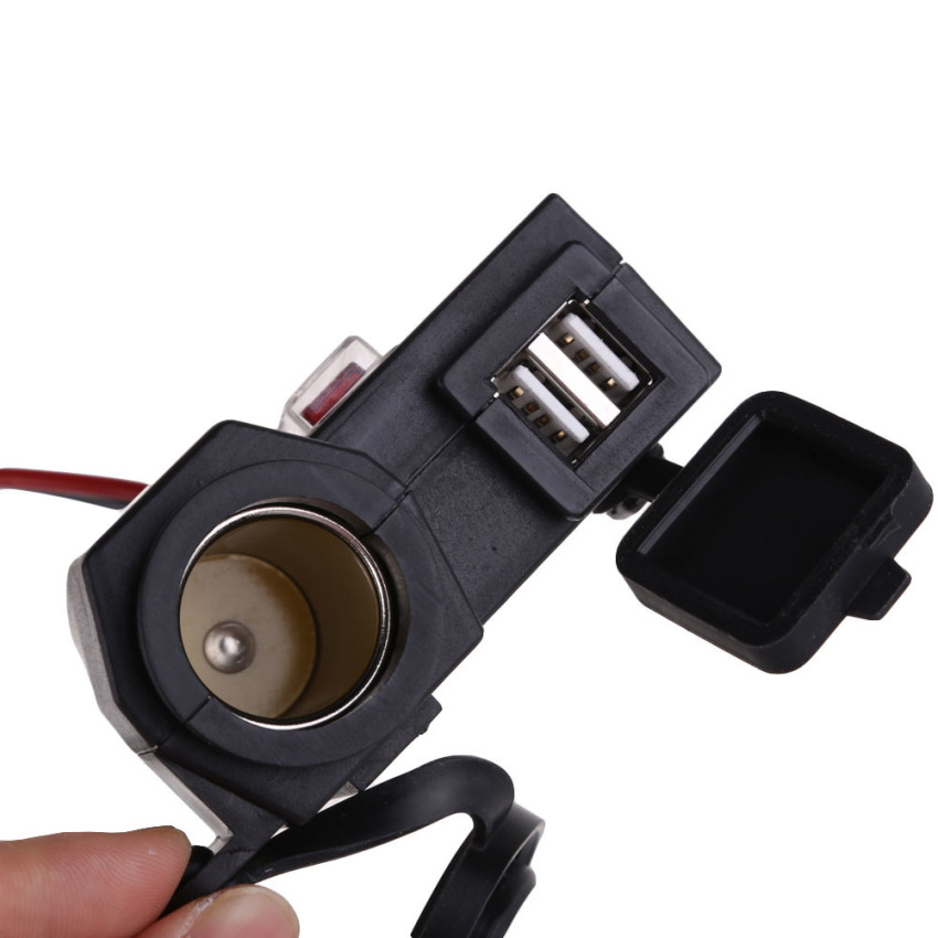 Motorcycle 12V Cigarette Lighter Socket Adapter Dual USB Charging Connector (Intl)