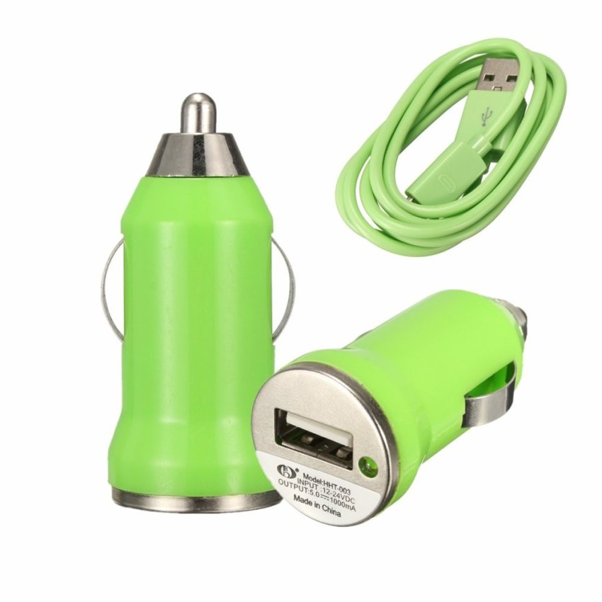 Multicolor Car Charger Adapter Micro USB Cable for Samsung Galaxy S3 S4 S6 HTC Green (Intl)