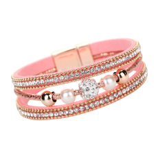 Multilayer Pearl Rhinestone Beaded Leather Bracelet Pink - Intl