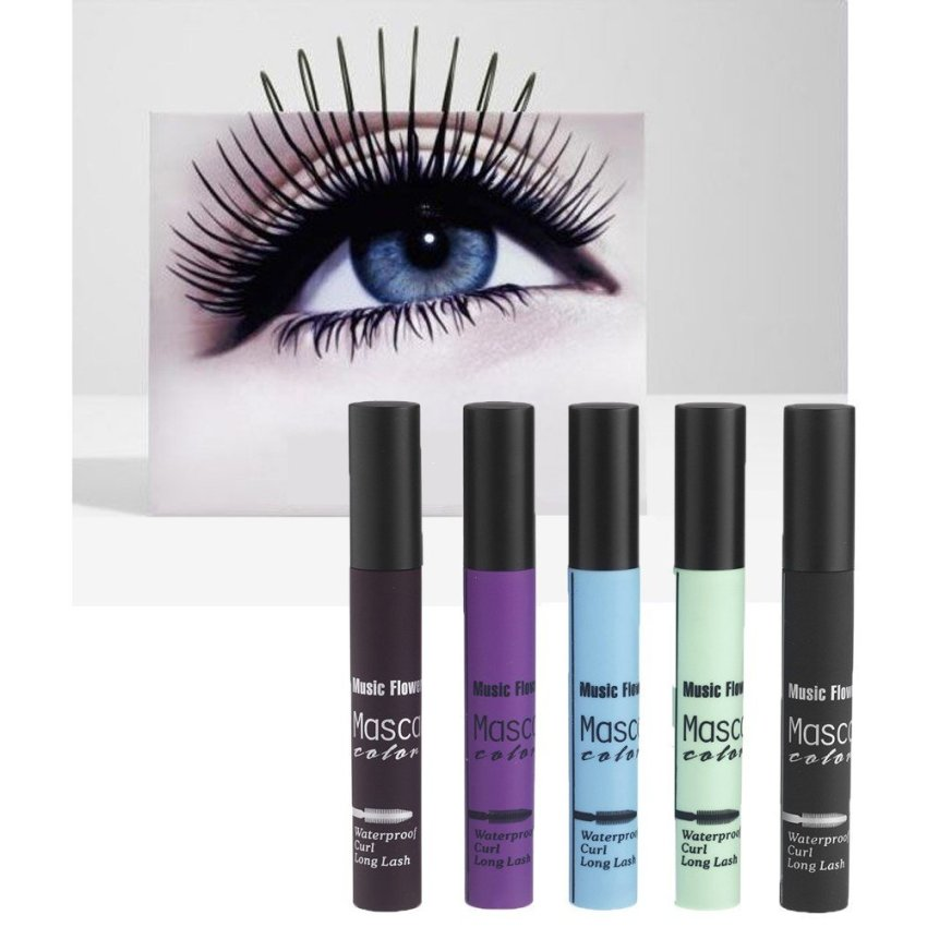 Music Flower 5 Colors / Set Smoky Lash Mascara Waterproof for the Eyes Eyelash Growth Makeup (Intl)