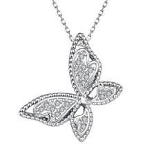 N061-C New Fashion Jewelry White Plated Zircon Necklace (Silver) (Intl)