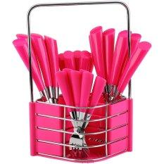 Nakami Set Sendok Garpu - Stainless Steel/Plastik - Merah Muda